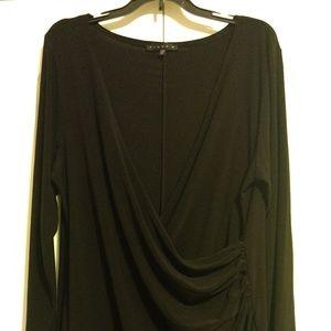 Faux wrap long sleeve black dress